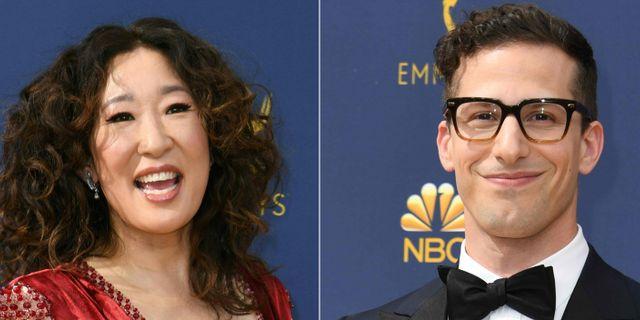 Sandra Oh och Andy Samberg. VALERIE MACON / AFP