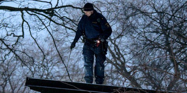 En polisman söker efter bevis på ett tak i Pildammsparken efter mordförsöket. Johan Nilsson/TT / TT NYHETSBYRÅN