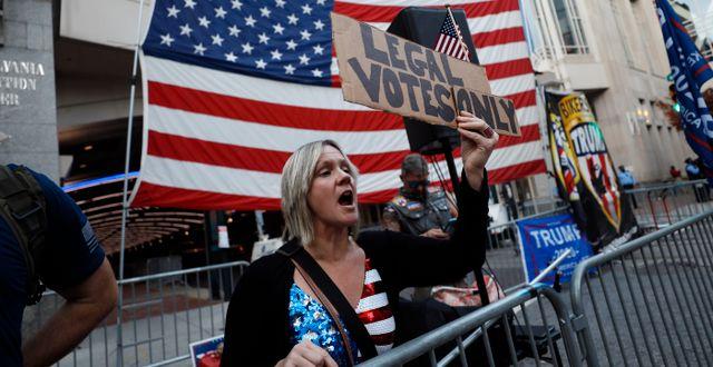 Trump-anhängare i Philadelphia.  Rebecca Blackwell / TT NYHETSBYRÅN