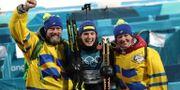 Hanna Öberg tillsammans med mamma och pappa under OS.  TT.