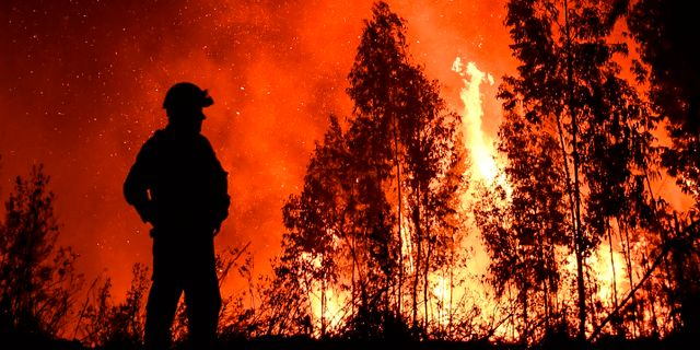En brandbekämare blickar ut över elden. PATRICIA DE MELO MOREIRA / AFP