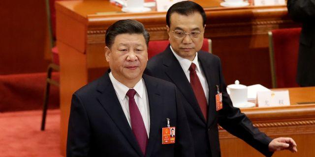 Kinas president Xi Jinping tillsammans med premiärminister Li Keqiang. JASON LEE / TT NYHETSBYRÅN