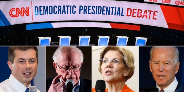 Pete Buttigieg, Bernie Sanders, Elizabeth Warren och Joe Biden. TT