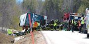 Räddningstjänst polis och ambulans på plats vid den allvarliga olyckan som inträffade för snart två år sedan.  Nisse Schmidt/TT / TT NYHETSBYRÅN