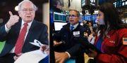 Warren Buffett till vänster. Illustrationsbild från Wall Street till höger. TT