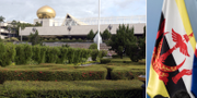 Sultanens palats i Brunei och Bruneis flagga. TT