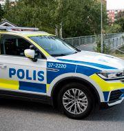 Polisbil i Flemingsberg.  Christine Olsson/TT / TT NYHETSBYRÅN