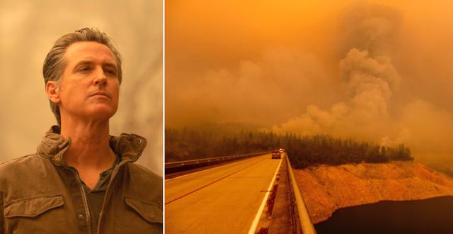Gavin Newsom vid besöket i Oroville, Kalifornien. TT
