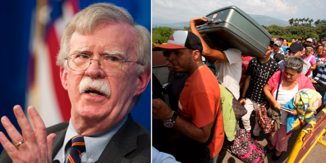 John Bolton/Människor från Venezuela vid gränsen. TT