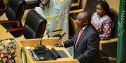 Sydafrikas president Cyril Ramaphosa under sitt tal i helgen. TT NYHETSBYRÅN
