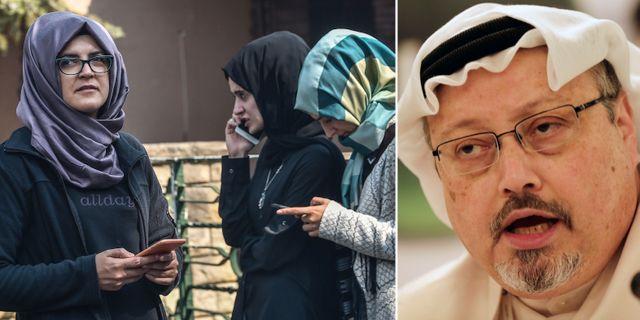 Khashoggi (höger) och hans fru (vänster). TT