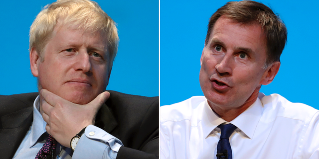 Boris Johnson och Jeremy Hunt. TT
