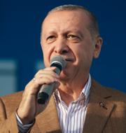 Emmanuel Macron och Recep Tayyip Erdogan.  TT
