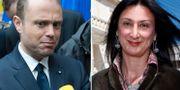 Maltas premiärminister Joseph Muscat. Den mördade journalisten Daphne Caruana Galizia.  TT