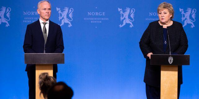 Jan Tore Sanner och statsminister Erna Solberg. Terje Pedersen / TT NYHETSBYRÅN