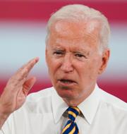 Biden/Senatens partiöverskridande förhandlingsgrupp håller pressträff. J. Scott Applewhite / TT NYHETSBYRÅN