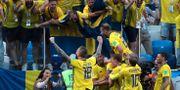 Svenska spelarna firar inför fansen efter Andreas Granqvists segermål mot Sydkorea. IVAN ALVARADO / BILDBYR N