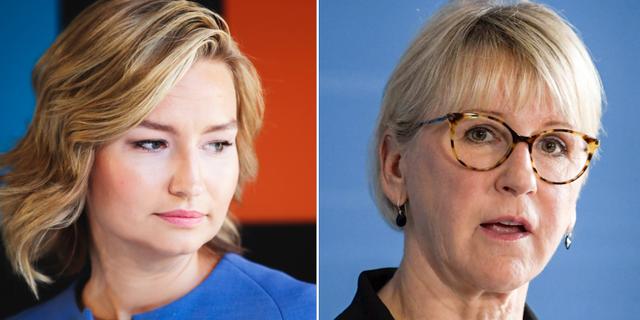 KD-ledaren Ebba Busch Thor och utrikesminister Margot Wallström.  TT