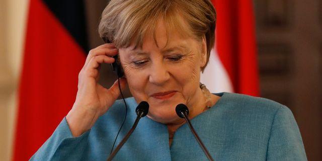 Angela Merkel vid dagens pressträff. Hussein Malla / TT NYHETSBYRÅN