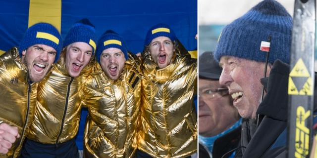 Svenska guldlaget Fredrik Lindström, Sebastian Samuelsson, Jesper Nelin och Peppe Femling (t v), Wolfgang Pichler (t h). TT.