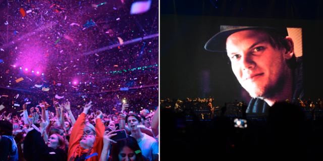 Publikhavet på Friends aren/Bild på Avicii som projicerades under konserten. TT