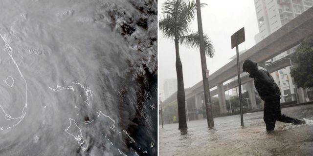 Satellitbild av Irma. Miami efter stormen. TT