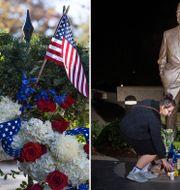 Blommor läggs vid en staty av George H W Bush i Washington DC.  TT