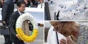 Premiärminister Shinzo Abe i Nagasaki på söndagen. TT