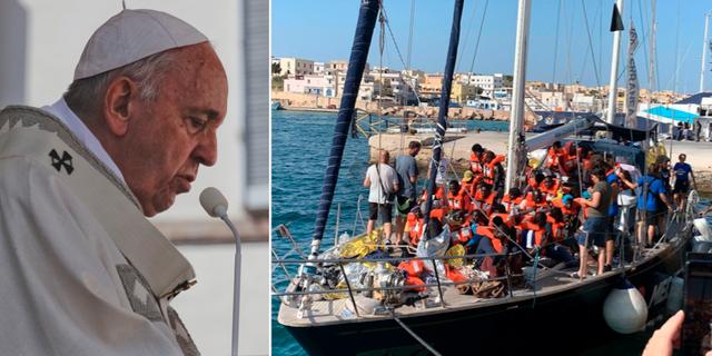 Påven t.v. Migranter på Lampedusa t.h. TT