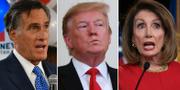Mitt Romney, Donald Trump och Nancy Pelosi. TT