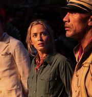 "Jack Whitehall, Emily Blunt och Dwayne Johnson i ""Jungle Cruise"". AP"