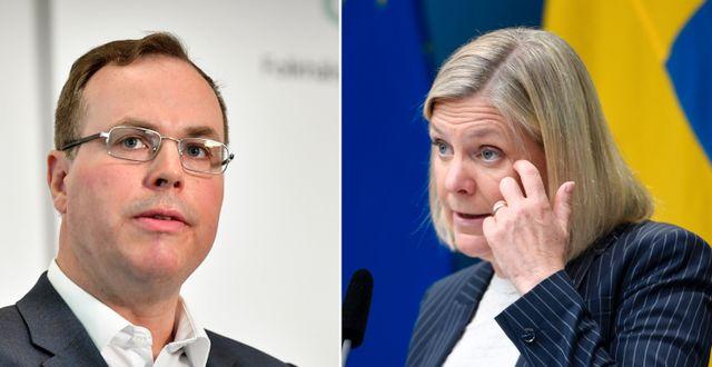 Tillväxtverkets Tim Brooks och Sveriges finansminister Magdalena Andersson (S) Jonas Ekströmer/TT och Ali Lorstani/TT
