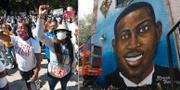Demonstranter/Muralmålning.  TT