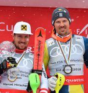 Henrik Kristoffersen, vinnaren Marcel Hirscher och André Myhrer. TT News Agency / TT NYHETSBYRÅN