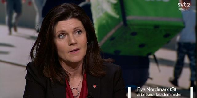 Arbetsmarknadsministern Eva Nordmark (S). SVT / Agenda