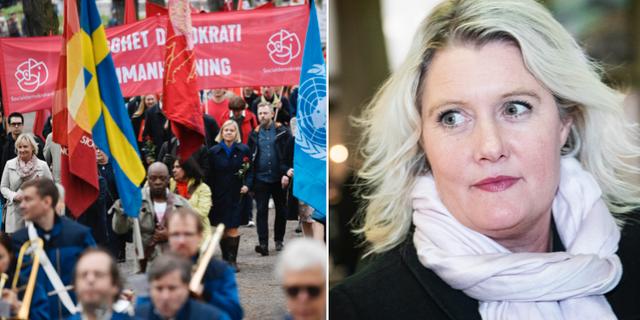 Arkivbild från första maj-tåg 2019 och Lena Rådström Baastad TT