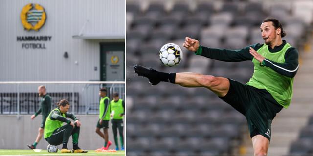 Zlatan tränar i den gröna Hammarbytröjan. Bildbyrån