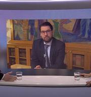 Peter Hultqvist debatterar med Jimmie Åkesson i Aktuellt i veckan. SVT