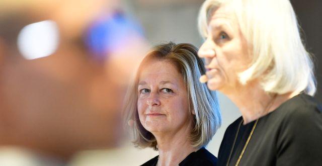 Vd Allison Kirkby och ordförande Marie Ehrling TT NEWS AGENCY / TT NYHETSBYRÅN