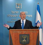 Israels premiärminister Benjamin Netanyahu när han höll presskonferens i veckan. ABIR SULTAN / TT NYHETSBYRÅN