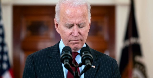 Joe Biden i Vita huset på måndagskvällen. Evan Vucci / TT NYHETSBYRÅN