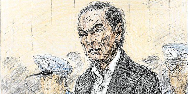 En illustration av Carlos Ghosn från domstolen. Nobutoshi Katsuyama / TT NYHETSBYRÅN/ NTB Scanpix