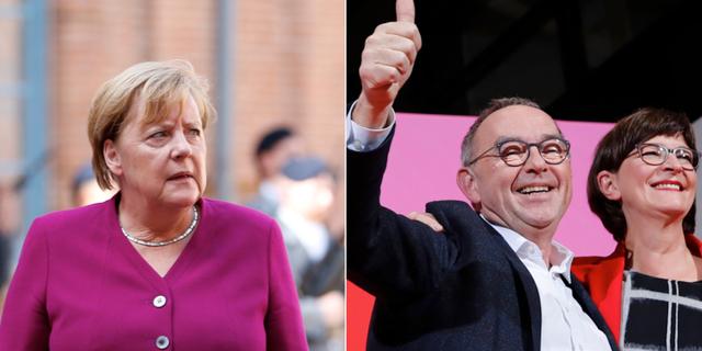 Angela Merkel / Norbert Walter-Borjans och Saskia Esken. TT