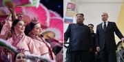 Vid sidan av samtalen mottogs Kim Jong-Un bland annat med en dansuppvisning. TT