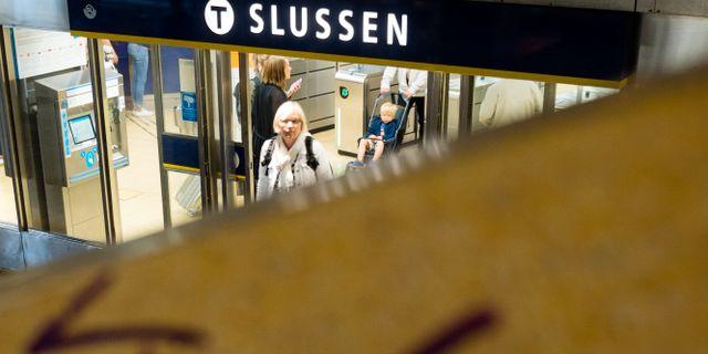 Arkivbild: Klotter vid Slussen i centrala Stockholm.  Vilhelm Stokstad/TT / TT NYHETSBYRÅN