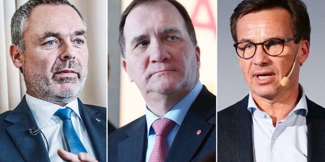 Jan Björklund (L), Stefan Löfven (S) och Ulf Kristersson (M). TT