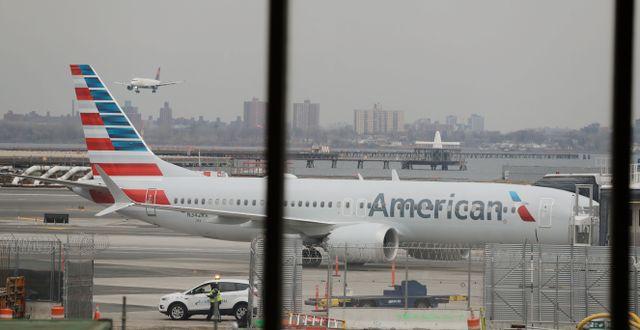 Arkivbild: Ett American Airlines Boeing 737 Max-plan på LaGuardia-flygplatsen i New York. Frank Franklin II / TT NYHETSBYRÅN/ NTB Scanpix