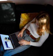 En ung kvinna söker jobb på Arbetsförmedlingens hemsida Jessica Gow/TT / TT NYHETSBYRÅN