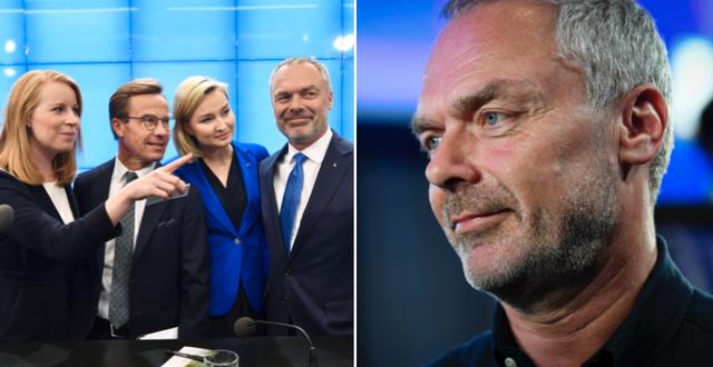 Annie Lööf (C), Ulf Kristersson (M), Ebba Busch Thor (KD) och Jan Björklund (L). Arkivbilder. TT