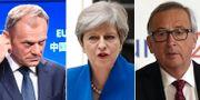 Donald Tusk, Theresa May och Jeremy Corbyn TT